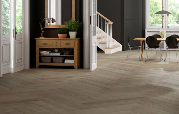earthy tone wood tile flooring